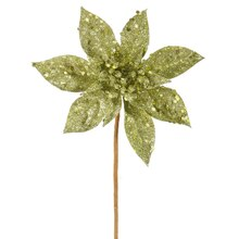 "11"" Glitter Poinsettia Christmas Pick, Lime Green"
