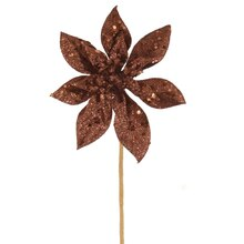 "11"" Glitter Poinsettia Christmas Pick, Chocolate Brown"