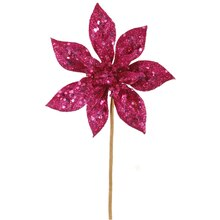 "11"" Glitter Poinsettia Christmas Pick, Pink"