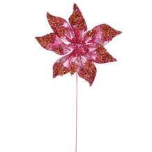 "24"" Glitter Beaded Poinsettia Christmas Pick, Pink"