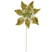 "24"" Glitter Beaded Poinsettia Christmas Pick, Lime Green"