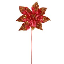 "24"" Glitter Beaded Poinsettia Christmas Pick, Crimson"