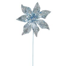 "24"" Glitter Beaded Poinsettia Christmas Pick, Aqua"
