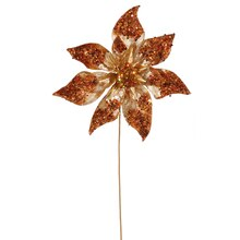 "24"" Glitter Beaded Poinsettia Christmas Pick, Copper"