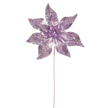"24"" Glitter Beaded Poinsettia Christmas Pick, Lavender"