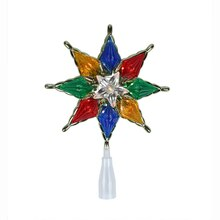 Gold 8-Point Multicolor Star Christmas Tree Topper