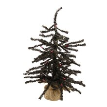 "18"" Pre-Lit Black Artificial Christmas Tree in Burlap Base, Purple Lights"