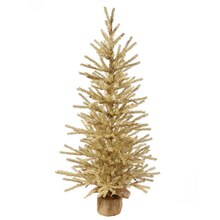 "18"" Gold Artificial Christmas Tinsel Twig Tree in Burlap Base, Unlit"