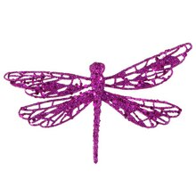 Glittered Dragonfly Clip-On Christmas Ornament, Purple