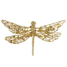 Glittered Dragonfly Clip-On Christmas Ornament, Gold