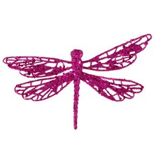 Glittered Dragonfly Clip-On Christmas Ornament, Fuschia