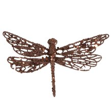 Glittered Dragonfly Clip-On Christmas Ornament, Chocolate Brown