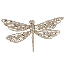 Glittered Dragonfly Clip-On Christmas Ornament, Champagne