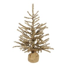 Golden Brown Artificial Christmas Tinsel Twig Tree in Burlap Base