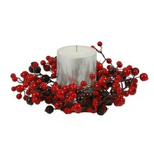 Red and Burgundy Mixed Berry Outdoor Artificial Christmas Candle Ring