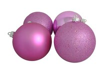 Shatterproof 4-Finish Christmas Ball Ornaments, Bubblegum Pink
