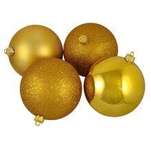 Shatterproof 4-Finish Christmas Ball Ornaments, Antique Gold