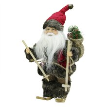 "9"" Skiing Country Santa in Red and Green"