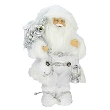 "12"" Santa in White and Silver with Lamp and Bag"