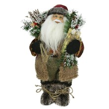 """12"""" Country Santa in Brown with Gift and Sack"""