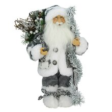 """12"""" Standing Country Santa in Gray & White Holding a Stick & Sack"""
