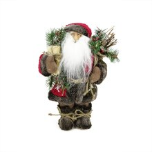 "12"" Standing Country Santa in Red/Green With Spruce Bough & Sack"