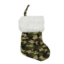 Camouflage Print Mini Stocking with Faux Fur Cuff