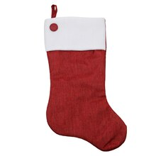 Red Poly-Linen Stocking with White Fleece Cuff