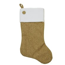 Taupe Poly-Linen Stocking with White Fleece Cuff