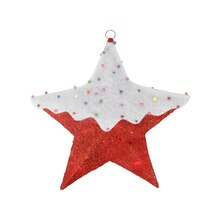 Lighted Snow Covered Hanging Christmas Star Window Decoration