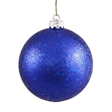 "4"" Shatterproof Holographic Glitter Christmas Ball Ornament, Cobalt Blue"