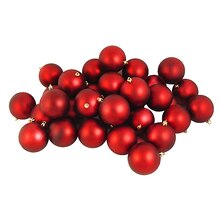 "3.25"" Matte Shatterproof Christmas Ball Ornaments, Red Hot"