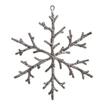 Urban Nature Rustic Brown and Snowy White Snowflake Christmas Ornament