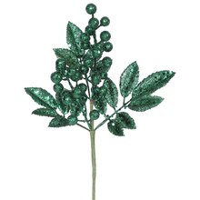 "13"" Sparkling Emerald Green Glittered Berry and Leaves Christmas Spray"