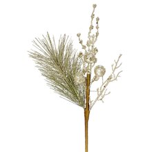 "13"" Sparkling Glittered Ball and Pine Christmas Spray, Champagne"