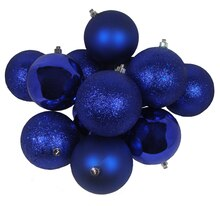 "4"" Shatterproof 4-Finish Christmas Ball Ornaments, Royal Blue"
