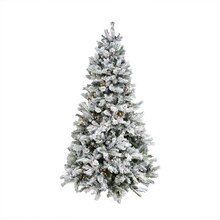 9.5 ft. Pre-Lit Flocked Victoria Pine Artificial Christmas Tree With Remote
