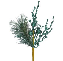 """13"""" Sparkling Glittered Ball and Pine Christmas Spray, Emerald Green"""