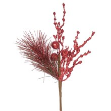 "13"" Sparkling Glittered Ball and Pine Christmas Spray, Berry Red"