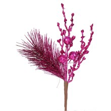 "13"" Sparkling Glittered Ball and Pine Christmas Spray, Fuchsia"