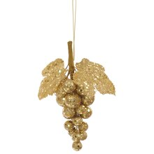 Glittered and Sequined Grape Cluster Christmas Ornament, Gold