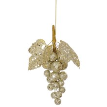 Glittered and Sequined Grape Cluster Christmas Ornament, Champagne