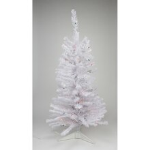 "2 ft. x 17"" White Iridescent Pine Tree With 64 Tips, Multi Lights"
