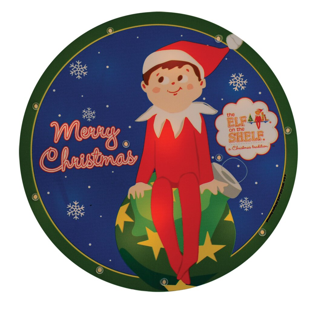 Christmas window box filler - 9 5 Pre Lit Elf On The Shelf Round Merry Christmas Window Silhouette Decoration