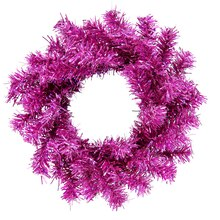 Sparkling Cerise Pink Artificial Mini Christmas Wreath