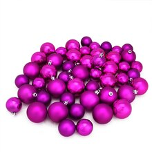 "1.5"" - 2"" Shatterproof Shiny & Matte Christmas Ball Ornaments, Magenta"