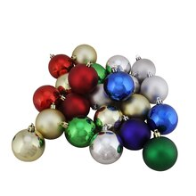 "1.25"" Shatterproof Multicolor Shiny & Matte Christmas Ball Ornaments"