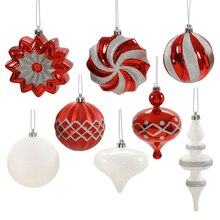 Assorted Red, White & Silver Shatterproof Christmas Ornaments