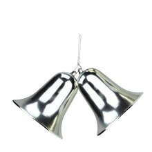 """12"""" Silver Double Bell Shatterproof Christmas Ornament"""