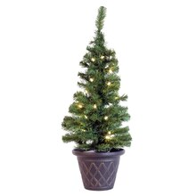 3 ft. Pre-Lit Potted Solar-Powered Artificial Christmas Tree, Warm Clear Lights